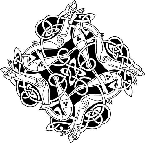 Four dogs design adapted from a panel on the North face of Kinnitty Cross (Co. Offaly, Ireland) . Vitor Gonzalez