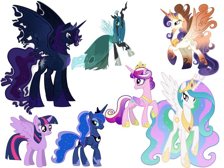 Royalty: King Cosmos, Queen Chrysalis, Queen Galaxia, Princess Twilight Sparkle, Princess Luna, Princess Mi Amora Cadenza (Cadence), and Princess Celestia!