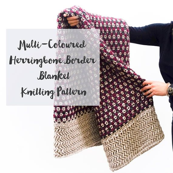 Knitting Pattern for Multi Coloured Chunky Knit Blanket with