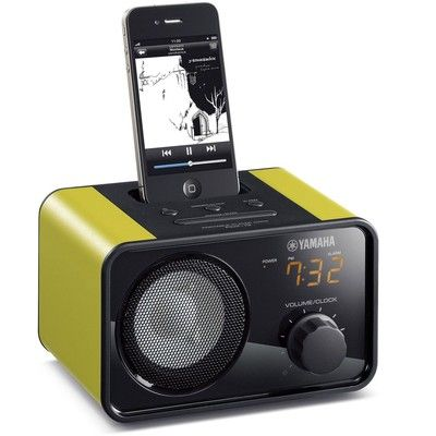 nice stocking stuffer! - Yamaha PDX-13 Portable LED Clock Player dock for iPhone and iPod (Green)' on SHOP.CA