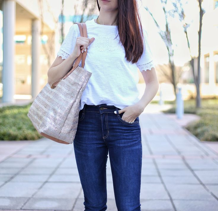 blogger Anna Monteiro of Blushing Rose Style wearing metallic tote from Marks & Spencer