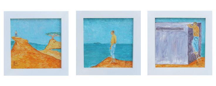 A Man on an Island  20 x 60 cm total  (3 framed panels)