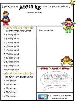 Super Kids Theme Newsletter Template   WORD  Newsletter Templates In Word