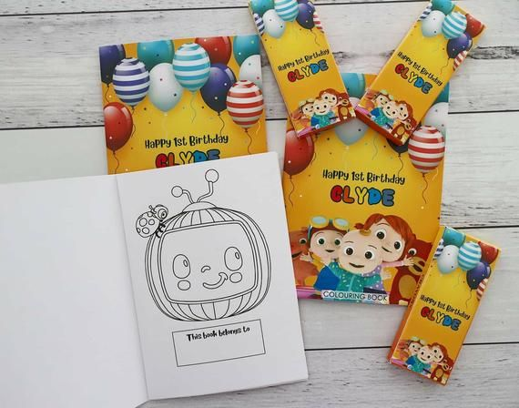 Cocomelon Colouring Books And Crayons Personalised Cocomelon Birthday Party Favours Personalized Coloring Book Birthday Party Favors Coloring Books
