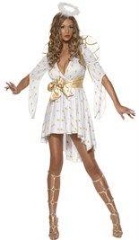 Iets totaal anders dan een kerstvrouw jurkje?  Kies dan voor een #engel #kostuum bestaande uit een uitlopende crème kleurige jurk, deze aan de voorkant korter valt. De jurk is bewerkt met gouden sterren en heeft een gouden taille riem. Het #jurkje wordt geleverd met de vleugels en een haarband met daarop een halo.