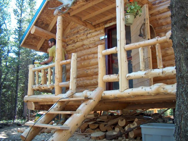 Easy cheap deck rail for log cabin google search deck for Log home decks