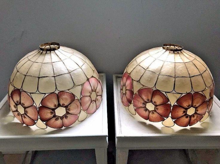 Pair of 2 Vintage Capiz Shell Large Lamp Shades #Unbranded #CaprizShell