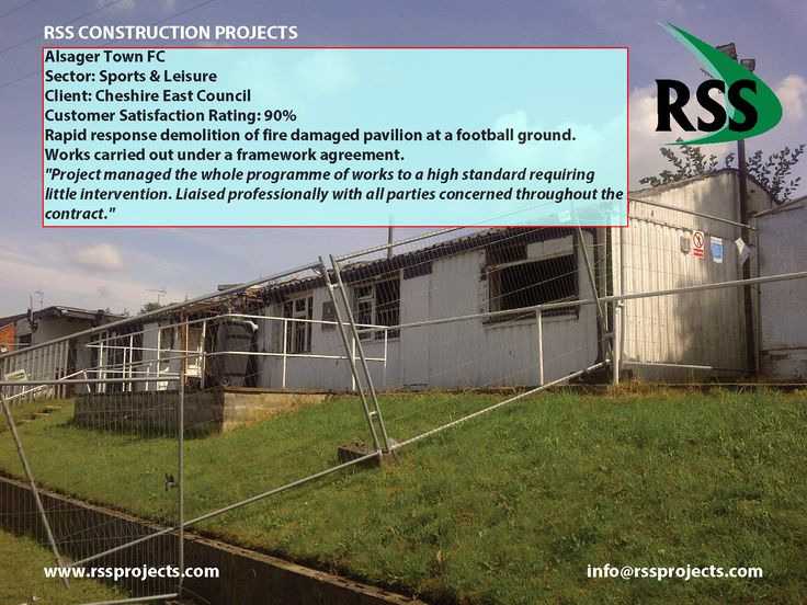 Rapid response demolition of fire damaged pavilion at a football ground. Works carried out under a framework agreement. http://www.rssprojects.com/Case Studies/alsager-town-fc