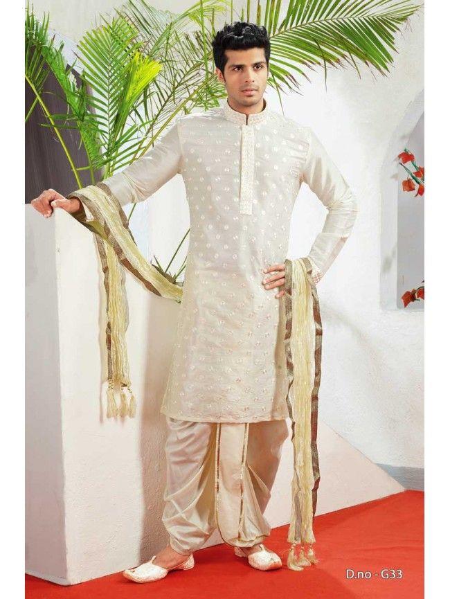 Cream Color Fancy Kurta with Dhoti Mens Wear