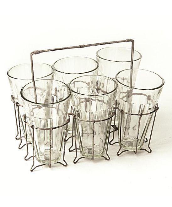 Farmhouse Caddy & Glass Set