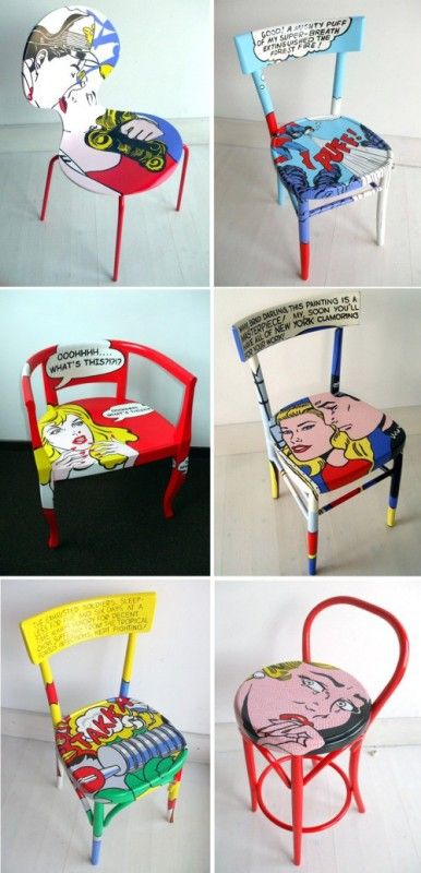 Roy Lichtenstein's iconic pop images  elevate these simple chairs to art -  by interior designer Silvia Zacchello