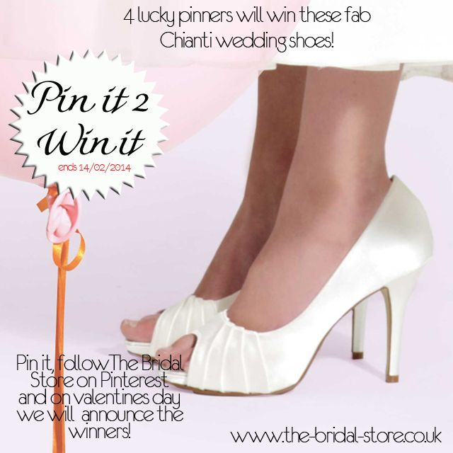 www.the-bridal-store.co.uk is giving away a variety of great shoes and accessories as part of our Pin it to Win it promo! Pin any one of our product images with the 'pin it to win it' logo and BOOM, you are entered! (make sure you enter by pinning with all the text to ensure you win as we will search for your pins via Hashtag!) #pinittowinitchianti #tbsweddingcomp