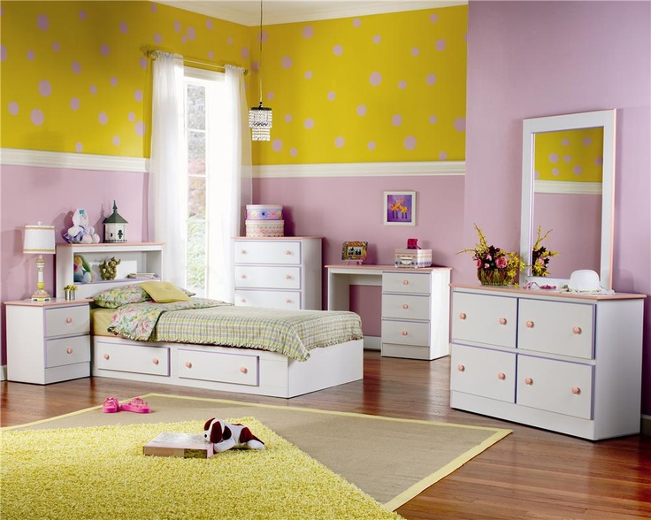 Miami Bedroom Set In White With Pink And Lavender Accents By Lang Furniture For Your Home