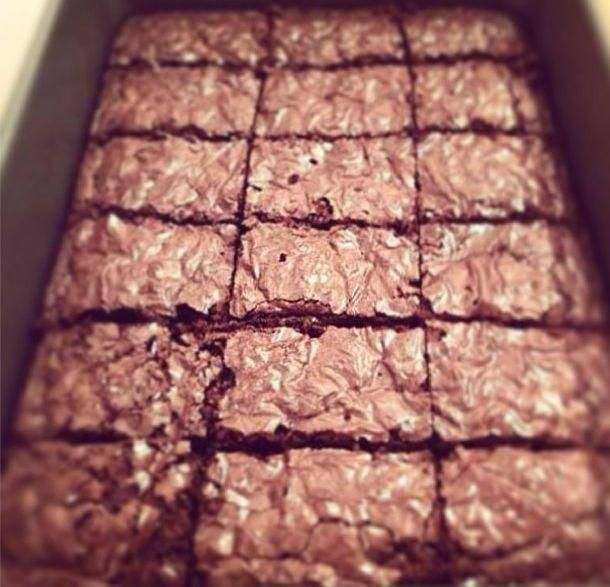 They are so moist and rich. Perfection! Brownies from scratch using cocoa powder and semisweet chocolate chips.