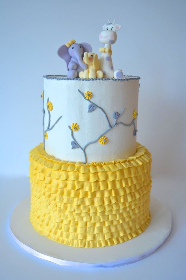 Gray And Yellow Gender Neutral Baby Shower Cake. Elephants And Giraffe,  Ruffles And Flowers