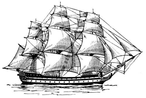 Рисунок корабля для выжигания