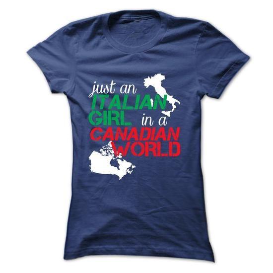 Italian Girl In Canada - #jean shirt #baseball tee. SAVE => https://www.sunfrog.com/LifeStyle/Italian-Girl-In-Canada-NavyBlue-Ladies.html?68278