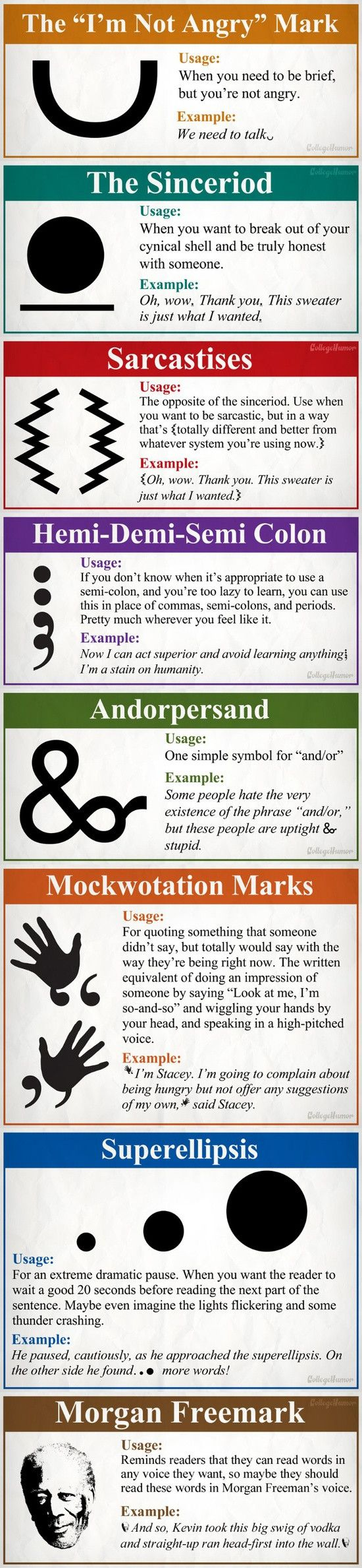 A humorous look at some of the punctuation marks missing in the English language. #infografía