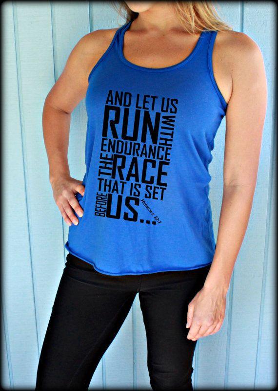Womens Flowy Workout Tank Top. Keep Running the Race Bible