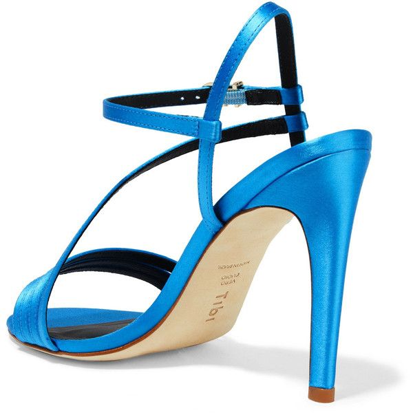 Tibi Vivian satin sandals ($450) ❤ liked on Polyvore featuring shoes, sandals, blue high heel shoes, blue strappy shoes, strappy high heel shoes, blue shoes and strap high heel sandals