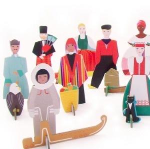 #Studio-Roof #Totem-People cardboard dolls from 12 different countries. http://zigzagmom.com/terra-mondo-viaggi/