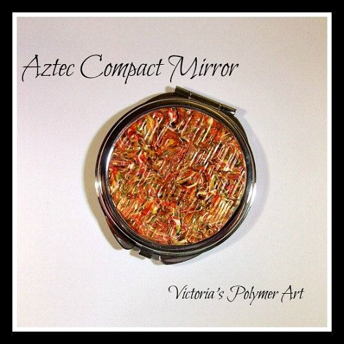 Compact Mirror  Aztec by VictoriasPolymerArt on Etsy, £6.75