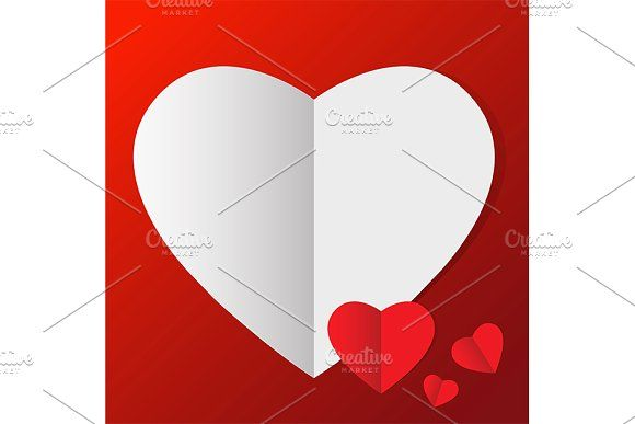 vector of heart in paper style by charnsitr on @creativemarket