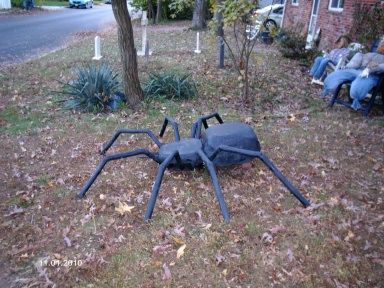 Here are pics of my new giant spider. The legs are made of PVC covered with pipe insulation, and the body is carved from styrofoam.