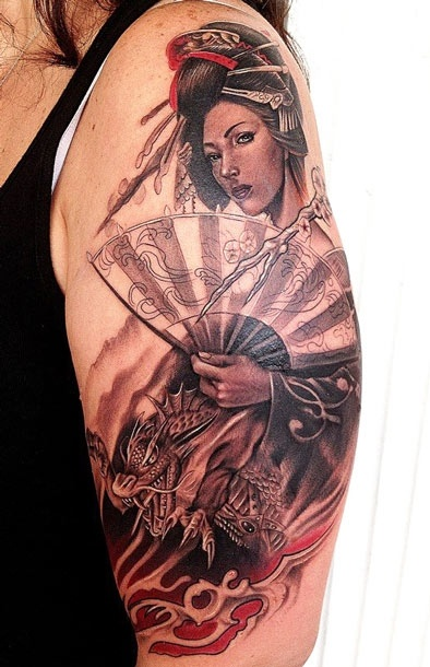Tattoo Artist - Rember Orellana - Geisha tattoo