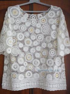 Блуза большого размера связанная крючком – работа Анны - вязание крючком на kru4ok.ru