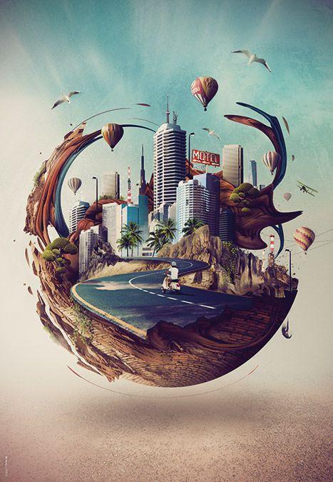 Tableau / poster / affiche Little-world by Xerty. Tableau / affiche limitée à 200 exemplaires numérotés.