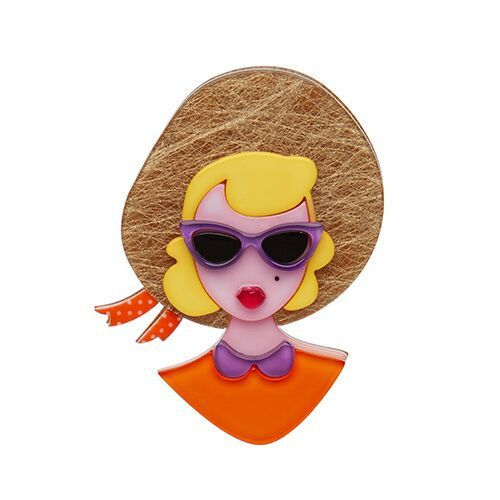 Picnic Portrait (Erstwilder Pinup Orange Resin Brooch), now available. Hand assembled and hand painted, presented in a branded box.
