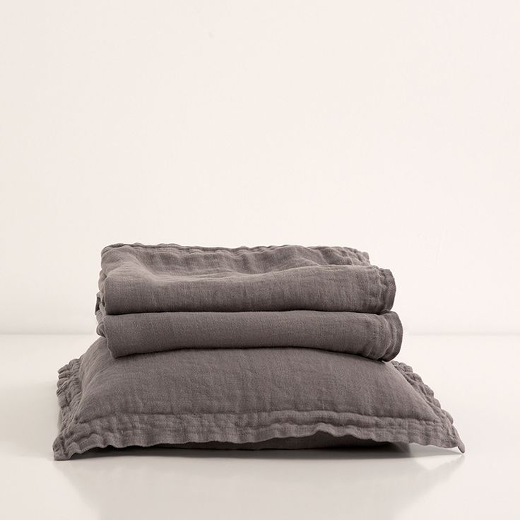 Charcoal washed linen bedspread and cushion cover