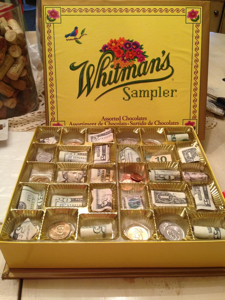 Money gift idea! Chocolate box full of money! Had a collection at work for a…