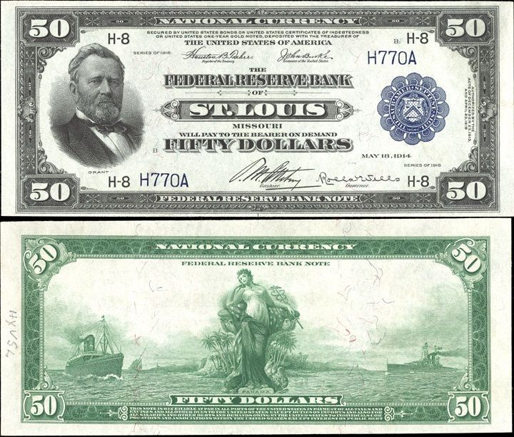 US 50 Dollar Note    Series 1918    St. Louis 8-H    Serial# H770A  Signatures: Teehee / Burke      Panama between two ships      Portrait: Ulysses S. Grant