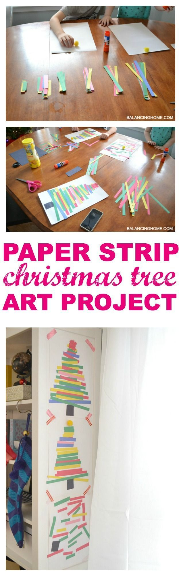 Christmas crafts for kids! Paper strip Christmas tree art. A fun and simple art project for the kids and there is even some learning involved!