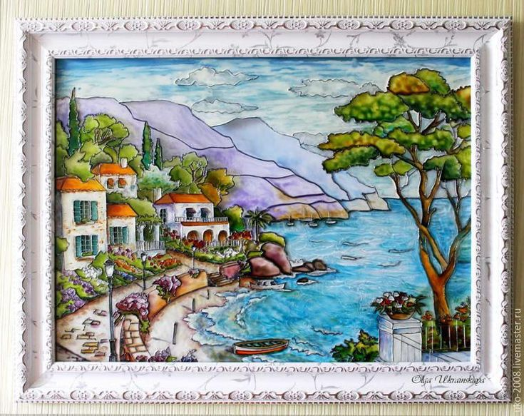 Средиземноморский пейзаж в витражной технике - Ярмарка Мастеров - ручная работа, handmade