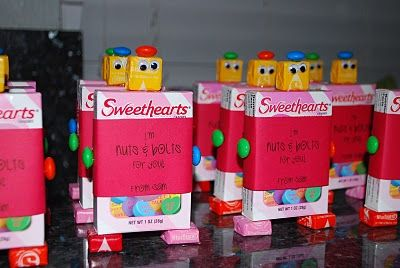 """""""im nuts & bolts about you"""" robot valentine. would work great with any boxed candy, gum, tic tacs, ect."""