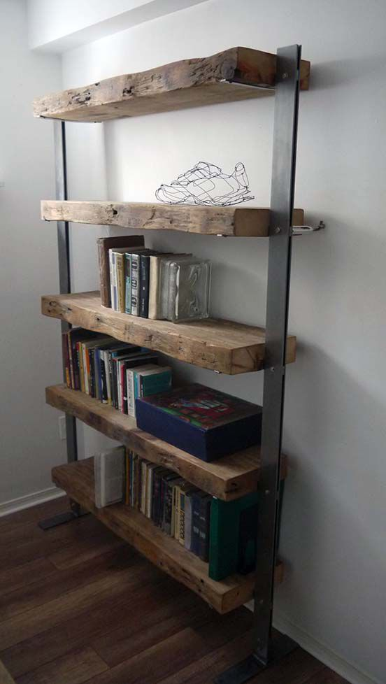free standing reclaimed timber shelf