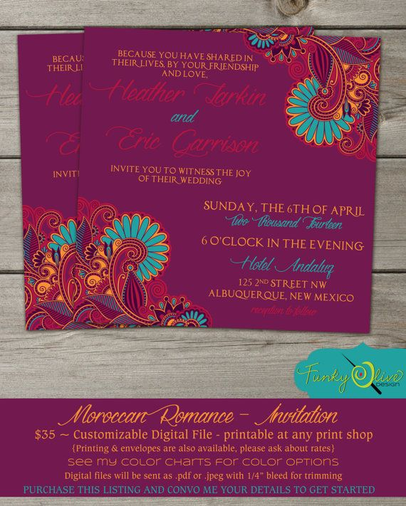 Moroccan Wedding Invitation Shower Rehearsal By TheFunkyOlive