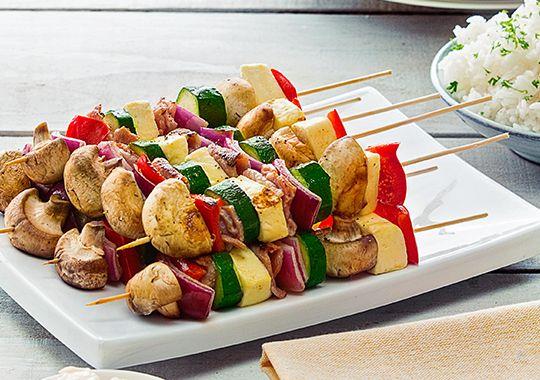Halloumi, Bacon and Vegetable Kebabs