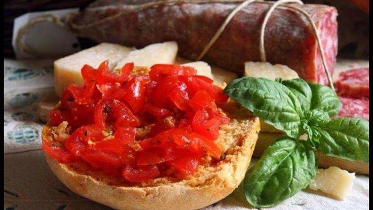 Bruschetta, basilico e salame