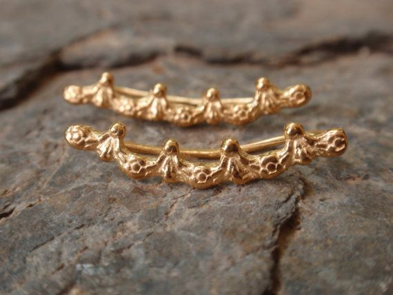 crown earrings, gold crown ear climbers, rose yellow gold crown ear crawlers, sterling silver crown earrings, ear pins cuffs bridesmaid gift