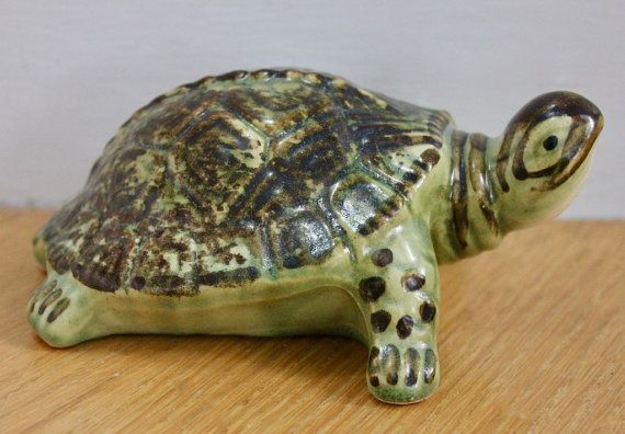 Vintage Brush McCoy Pottery Turtle Figurine by CuriousAndVintage
