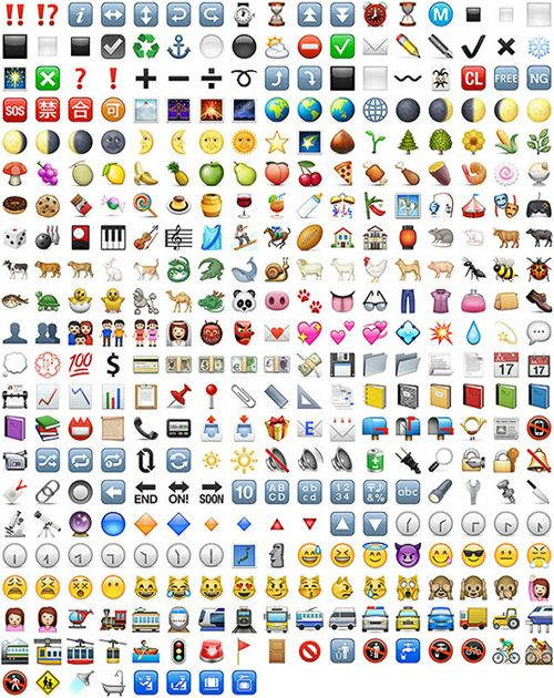 With its brand new operating system, the Apple iPhone features a large number of new emoticons within the iOS 6 emoji keyboard: http://bluewheelmedia.com/ios-6-emoji-emoticons/