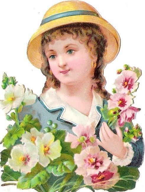 Oblaten Glanzbild scrap die cut chromo lady Dame girl child femme Blüte blossom: