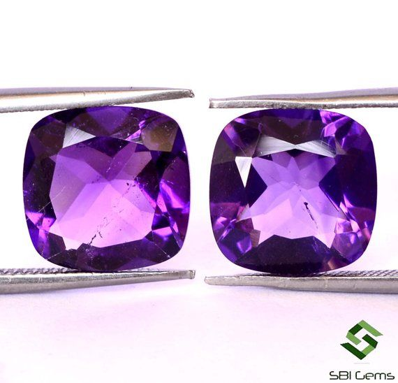 Loose Faceted Gemstone 6mm Cushion Cut Natural Amethyst Calibrated A+