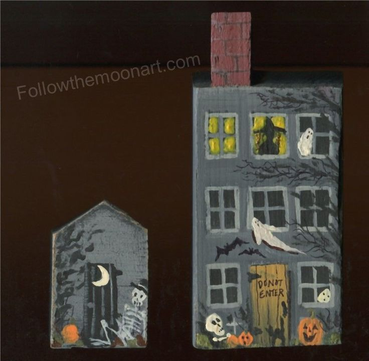 Halloween Hand Painted haunted House Out House Skeletons Pumpkins Ghosts Witch