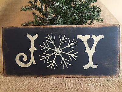 """Primitive Country Christmas Joy with Snowflake 3.5"""" x 8"""" Wood Sign Shelf Sitter"""
