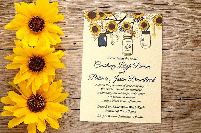 Sunflower Wedding Invitation Card - Mason Jar Wedding Invitation - Rustic Wedding - Southern Wedding Invitation - WE Print | Custom Colors by PaintTheDayDesigns on Etsy